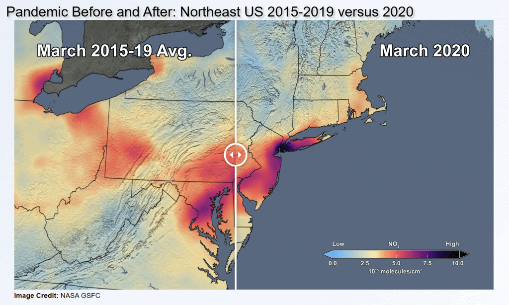 Northeastern US Air Quality befor and after pandemic