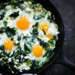 Sauteed dandelions with eggs, leeks and feta by A Beautiful Plate